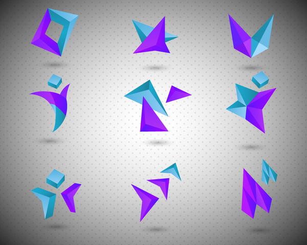 logo sets design with blue and violet combination