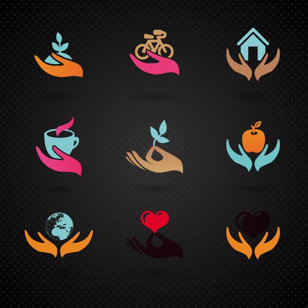 logo sets design with holding hands illustration