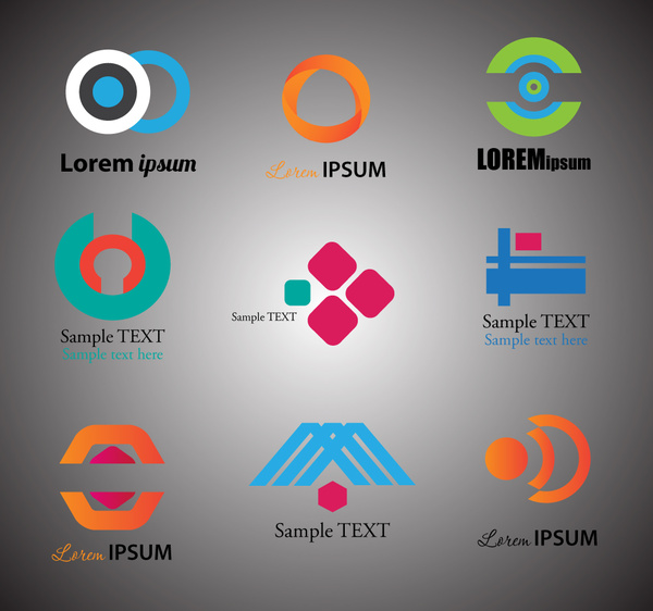 logo sets design with modern abstract style