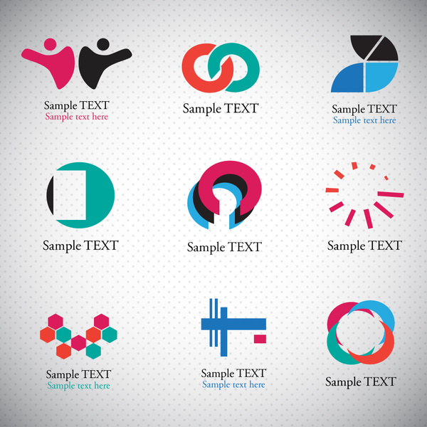 Logo sets with abstract shapes on bright background Free