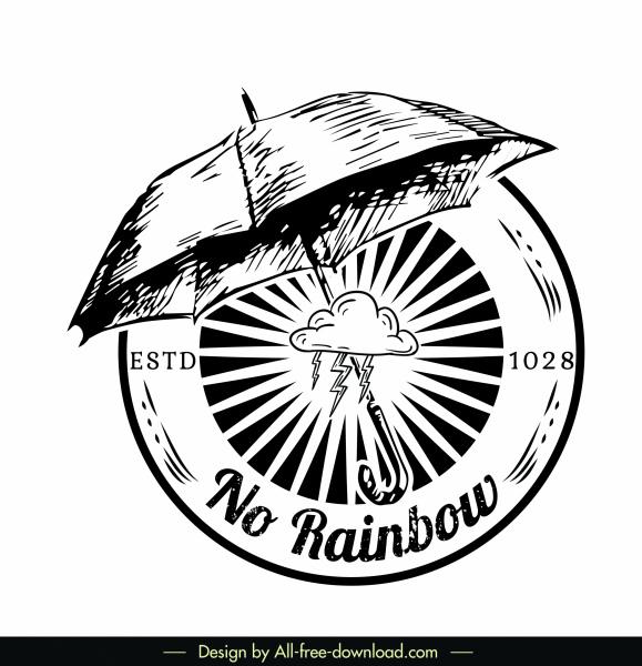 logo template umbrella decor retro handdrawn sketch