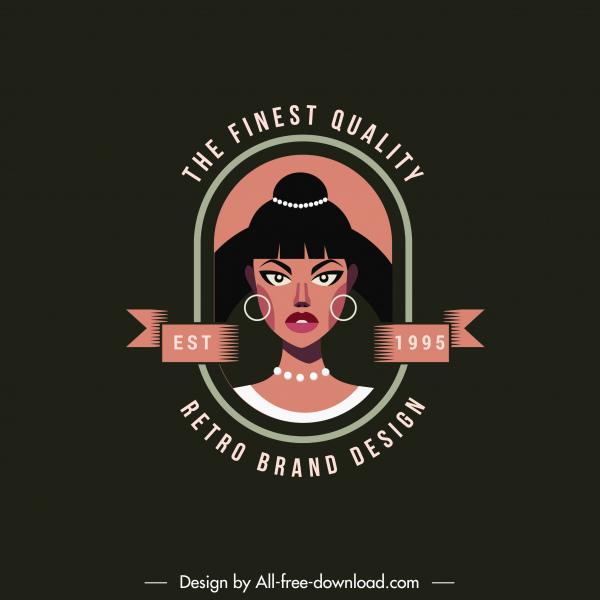 logo template woman portrait sketch dark retro design