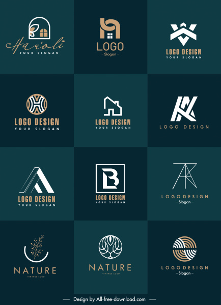 logo templates collection flat shapes sketch