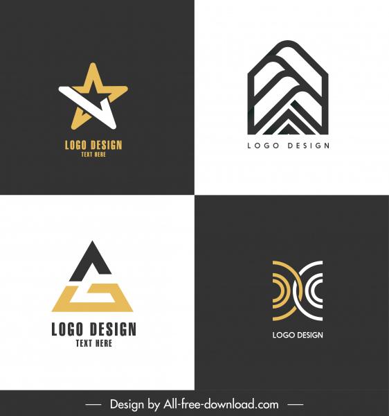 logo templates geometric star symmetric shapes flat contrast