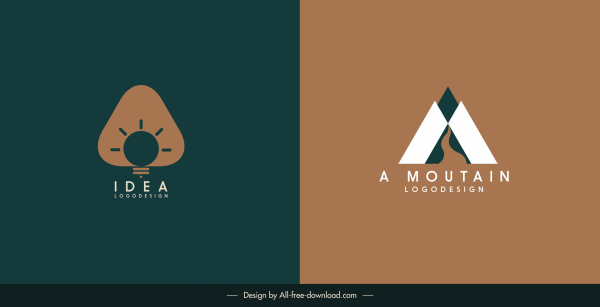 logo templates lightbulb mountain sketch flat design