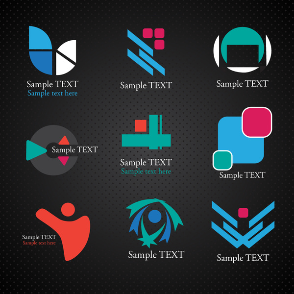 logos illustration with various shapes on dark background