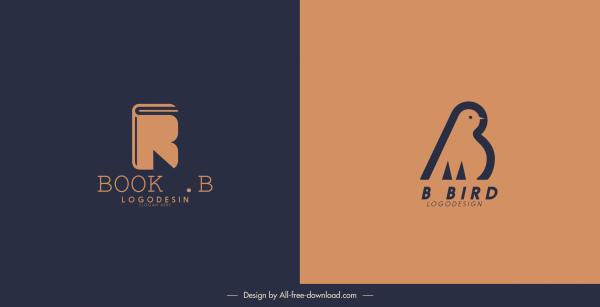 logotype templates book bird sketch flat classic design