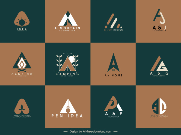 logotypes templates colored flat sketch