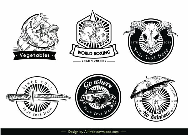 logotypes templates retro black white emblems decor