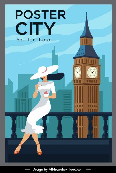 london landmark poster elegant lady tower cartoon sketch