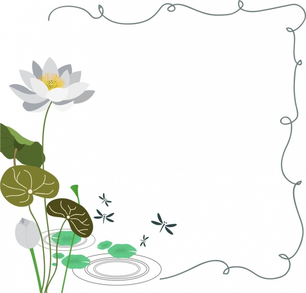 lotus background colored drawing curves frame decoration