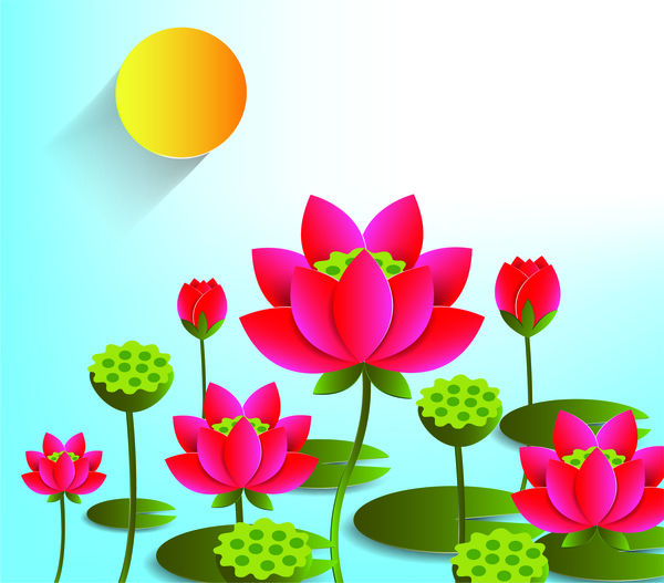 Lotus Flower Free Vector In Adobe Illustrator Ai Ai Vector