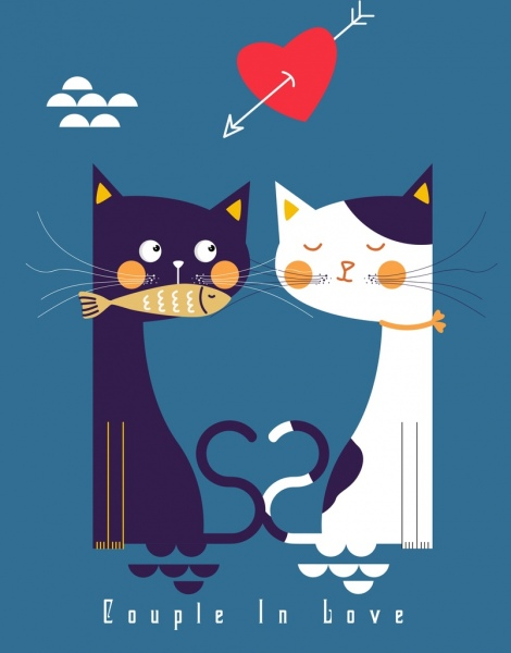 love background cat heart arrow icons classical design