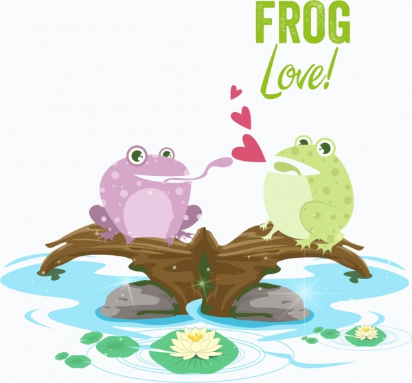 love background frog couple icon colored cartoon design