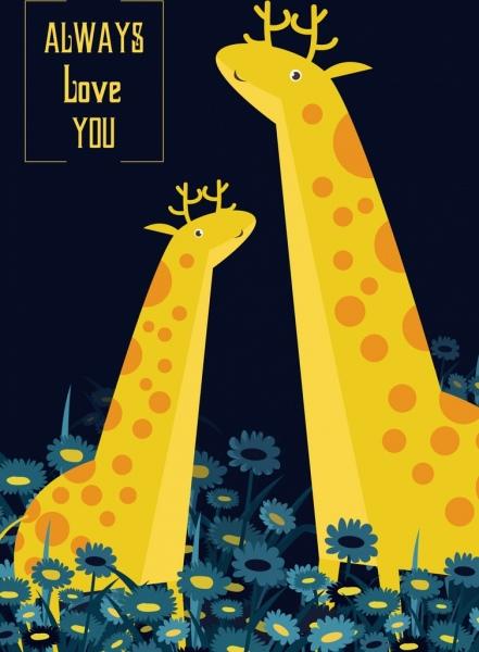 love background giraffe icons cartoon design