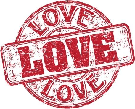 love stamp template flat red grunge retro design