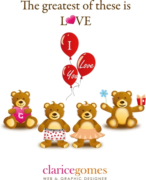 romantic valentines banner red balloons teddy bears design