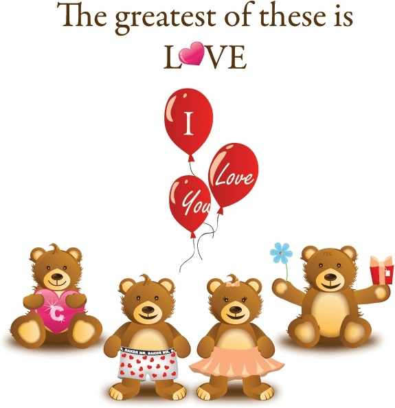 love background cute teddy bears and texts design