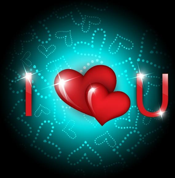love background sparkling shiny hearts texts decor