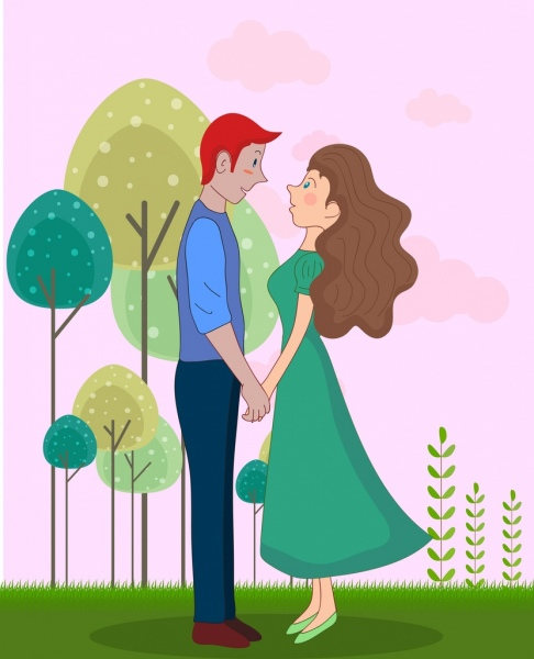 love couple background colored cartoon characters