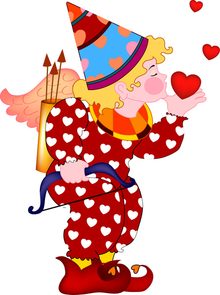 love illustration of cupid with kiss and hearts
