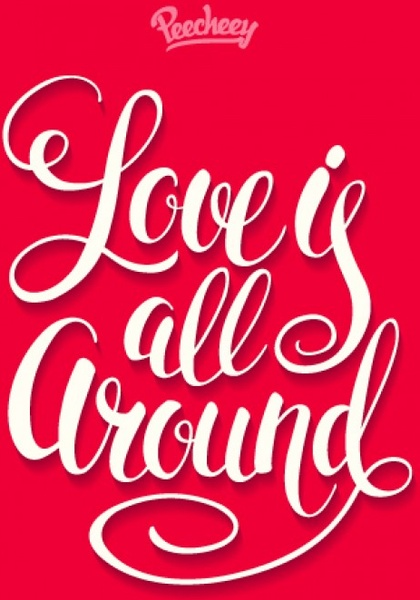 love is all around typography red poster