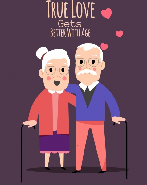 love painting old couple hearts icons classical decor