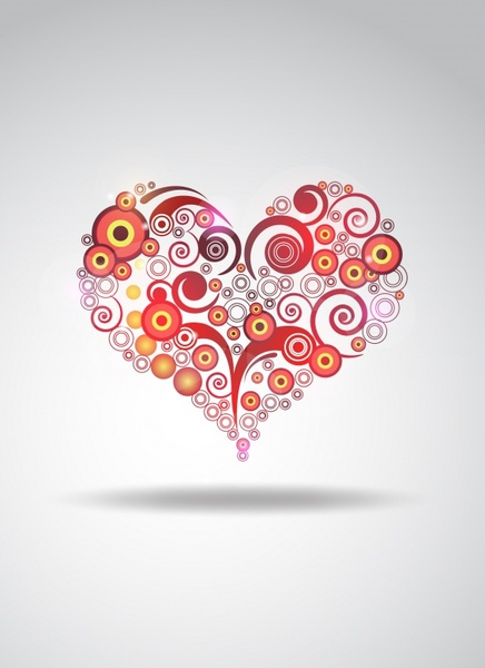 love background heart shape layout curves circles sketch