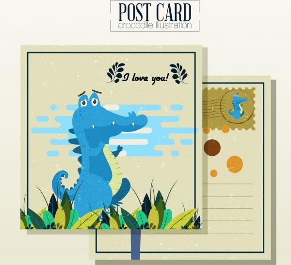 love postcard template crocodile icon cute cartoon design