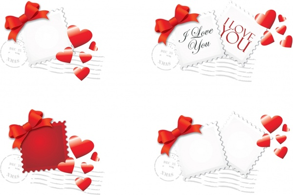 valentine stamps templates red white heart knot decor