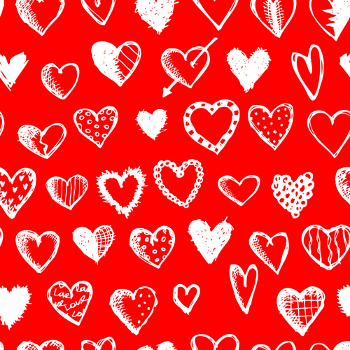 love with hearts patterns seamless vector set
