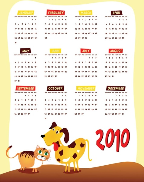 lovely 2010 calendar vector