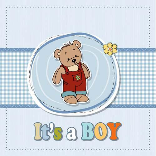 lovely baby cards vector set