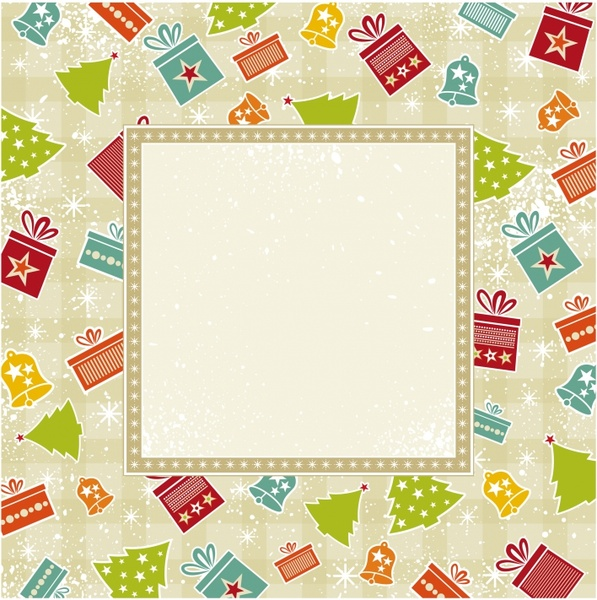 christmas card background flat presents baubles decor