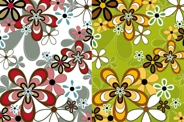 lovely flowers elements background art vector