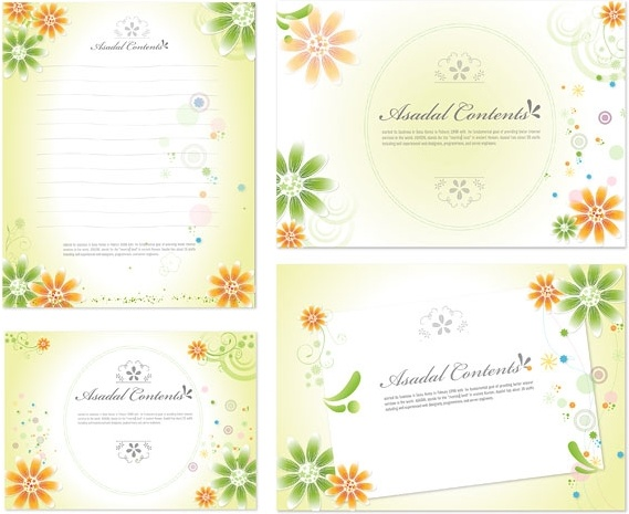 lovely flowers stationery and decorative cardboard vector