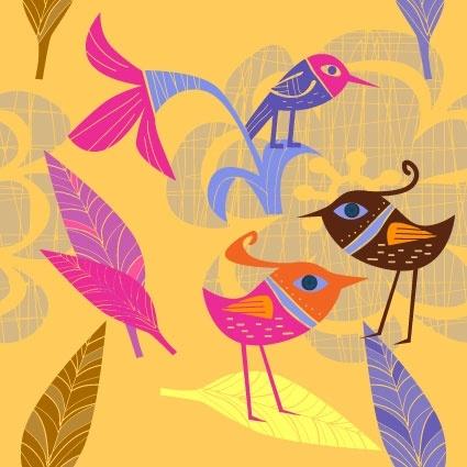 lovely handpainted flowers birds vector 4