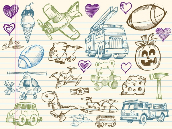 life object icons handdrawn sketch