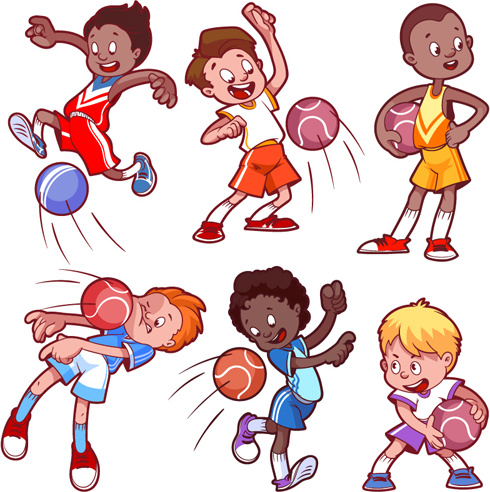 lovely kids children cartoon graphics vector set