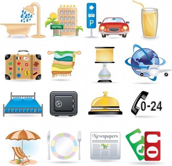 travel design elements modern colorful symbols sketch