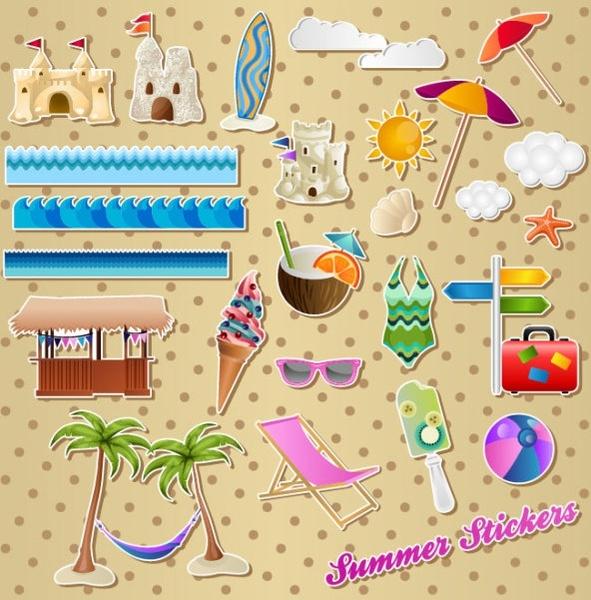 lovely seaside stickers 01 vector