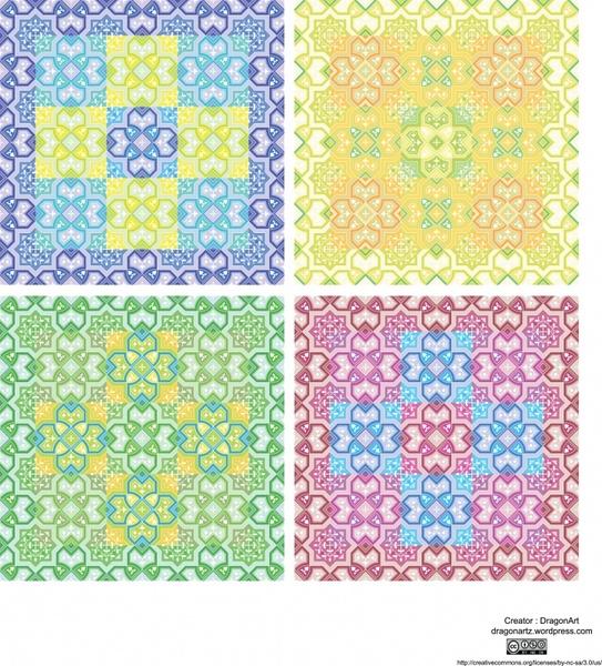 flower pattern templates colorful flat symmetrical decor