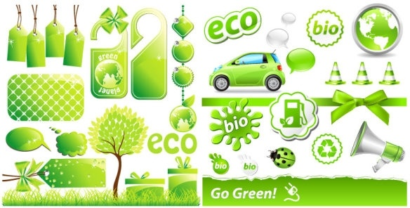 lowcarbon green theme icon vector