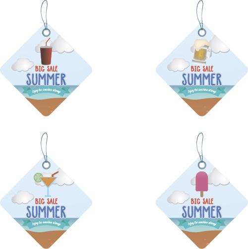 lozenge summer sale tags vector set