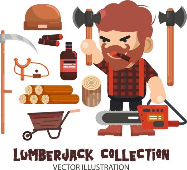 Lumberjack Design Elements Man Ax Wood Tools Icons Free Vector In