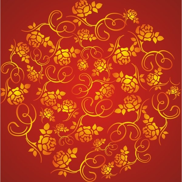 luxurious gold flower background vector