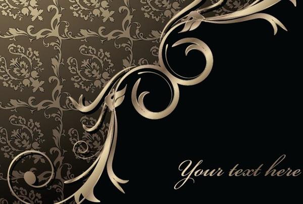 luxurious retro background dark design classical curves decoration