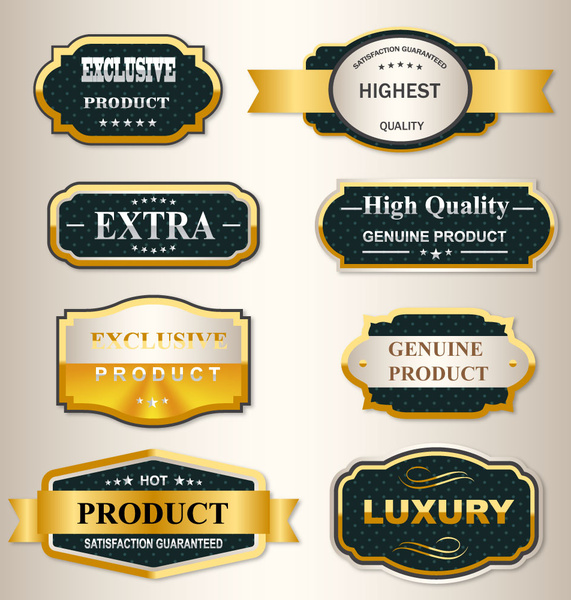 luxury badge and ribbon golden