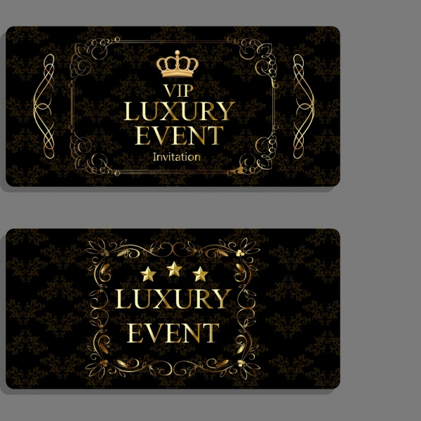 Luxury Event Invitation Cards Dark Elegant Design Free Vector In