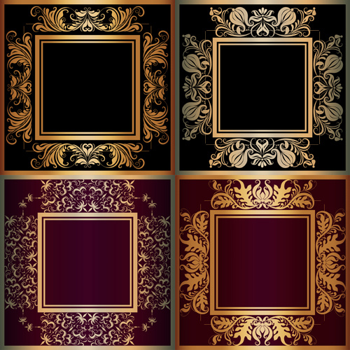 Luxury Gold Frame With Ornaments Floral Vector Free Vector In